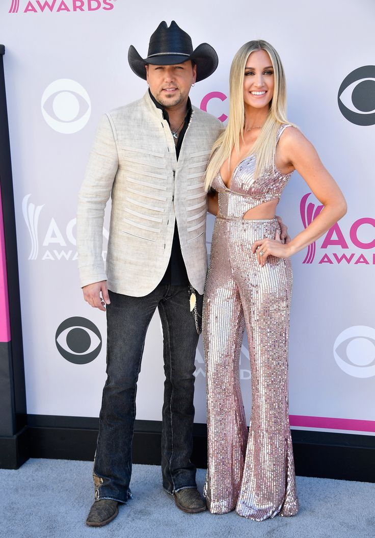 LAS VEGAS, NV - APRIL 02:  Recording artist Jason Aldean (L) and Brittany Kerr attend the 52nd Academy Of Country Music Awards at Toshiba Plaza on April 2, 2017 in Las Vegas, Nevada.  (Photo by Frazer Harrison/Getty Images) via @AOL_Lifestyle Read more: https://www.aol.com/article/entertainment/2017/04/02/acm-awards-2017-red-carpet-arrivals/22022806/?a_dgi=aolshare_pinterest#fullscreen