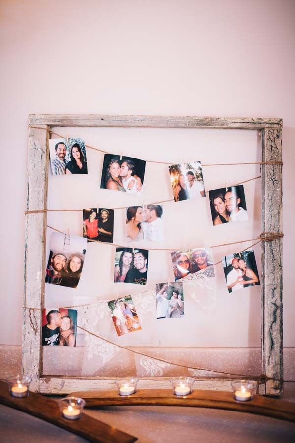 Twine Photo Collages     Create your own custom garlands using photos and twine.     Image via  OneWed .
