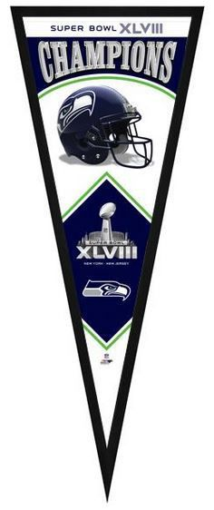 "Seattle Seahawks Super Bowl XLVIII Champions - 13"" x 33"" Framed Pennant"