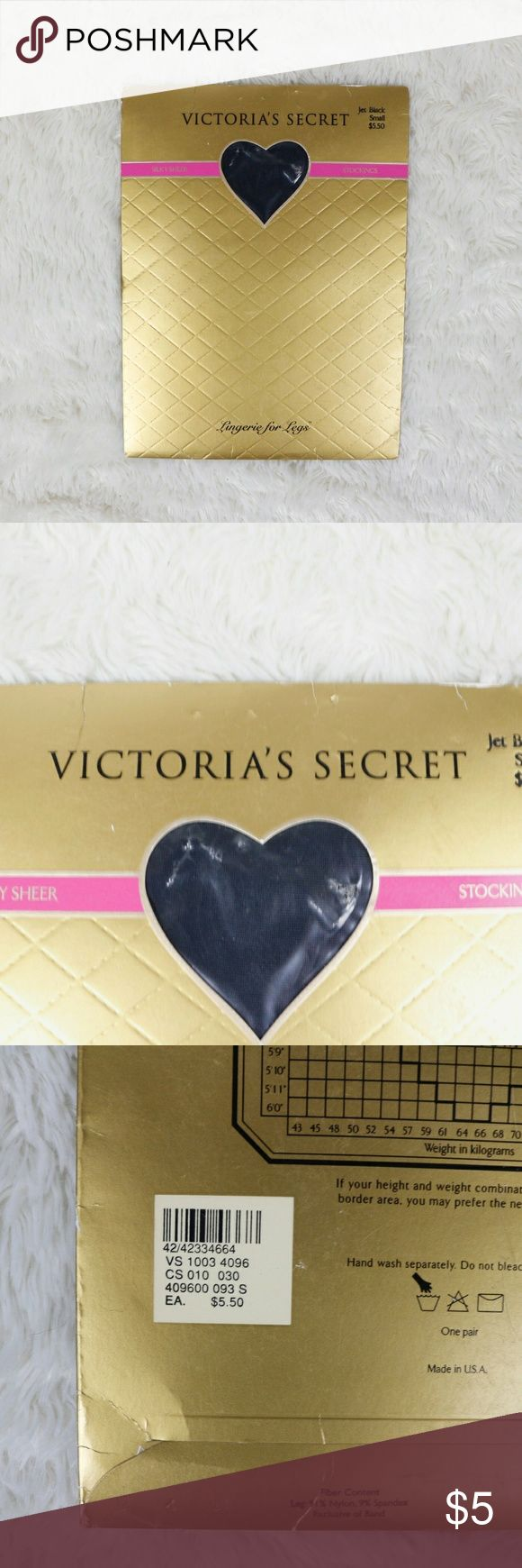 🆕 VICTORIA'S SECRET Stockings Black Pantyhose Brand new old stock (deadstock).  Women's Size Small Victoria's Secret Accessories Hosiery & Socks