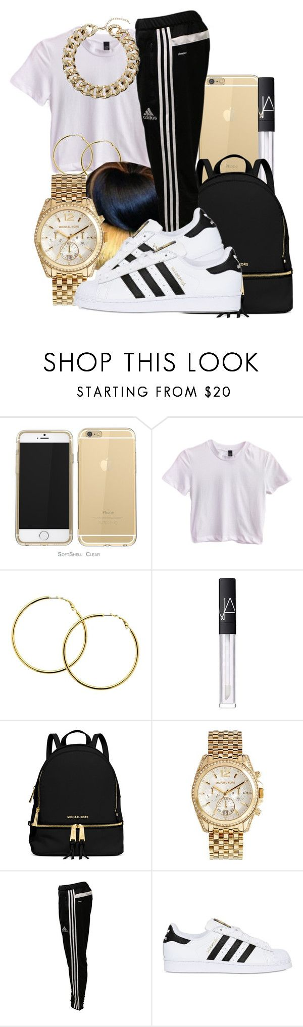 """I M A N I "" by pimpcessjayyy ❤ liked on Polyvore featuring Melissa Odabash, NARS Cosmetics, Identity, MICHAEL Michael Kors, Michael Kors, adidas, adidas Originals and Topshop"