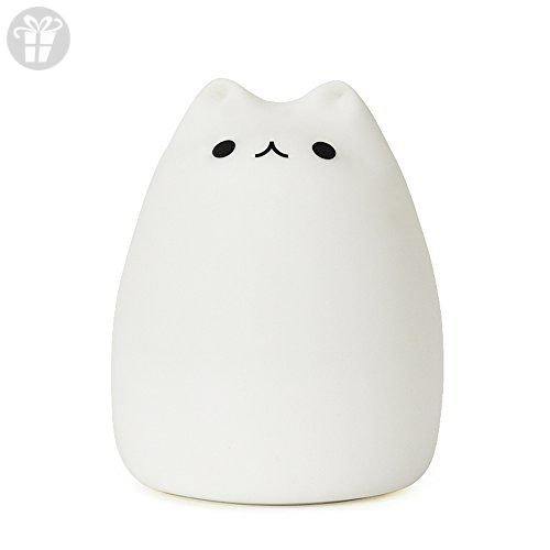 GoLine Cute Kitty LED Children Night Light, Multicolor Silicone Soft Baby Nursery Lamp, Sensitive Tap Control, Warm White & 7-Color Breathing Dual Light Modes, 12-hour Portable Usage.(NL003) (*Amazon Partner-Link)