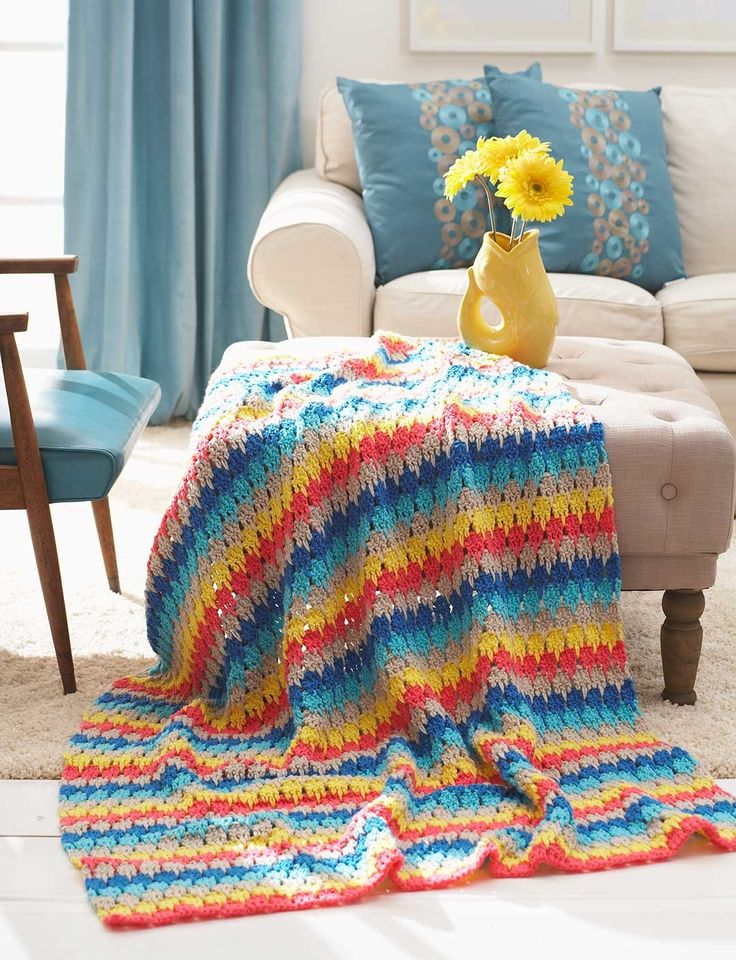 Larksfoot Crochet Baby Blanket Pattern : Yarnspirations.com - Bernat Larksfoot Blanket - Patterns ...