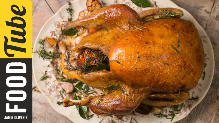Jamie Oliver's Fail safe Turkey *(rub chopped thymes and rosemary with melted butter on skin)