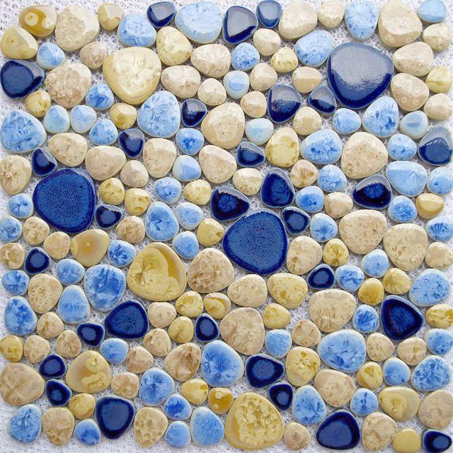 Tst磁器小石アートfambeモザイクブルー施釉小石タイル床風呂床キッチンbacksplashのタイル水泳貧しいインテリア