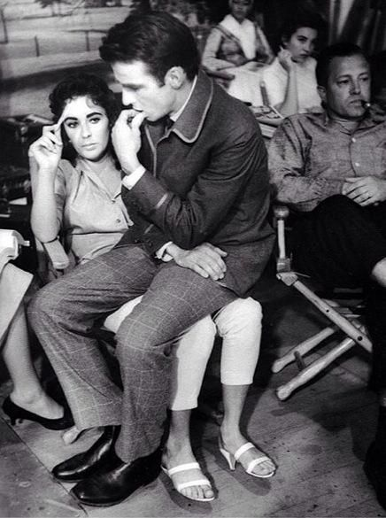 Elizabeth Taylor and Montgomery Clift on the set of Raintree County 1957