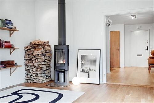Contura with twin-wall flue - sprayed to match wood-burner - rising directly from top of wood-burner through ceiling. Wood is a little too close for comfort !!!!