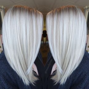 Platinum White Blonde Balayage - Straight Shoulder Length Haircut 2017