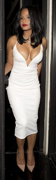 Who made Christina Milian's white dress and nude pumps?