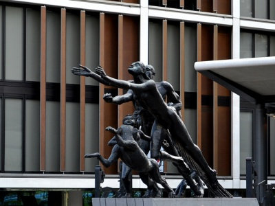 """One Hyde Park and Jacob Epstein's sculpture """"Rush of Green"""""""