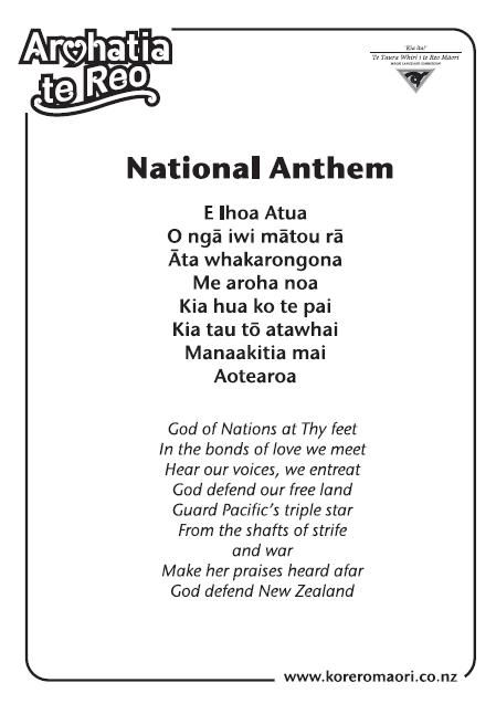 National Anthem - korero/speak Maori