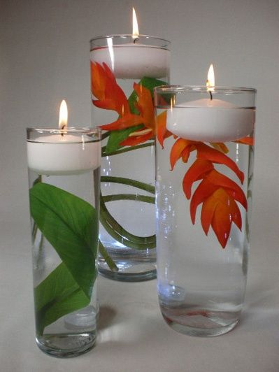 DIY wedding decorations.  Flower, plant, ect in a a glass of water. Add a small candle and there you have it!