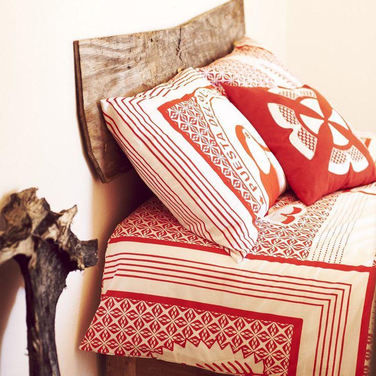 print bedrukt dekbedovertrek dekbed beddengoed bedtextiel rood wit dessin toekan vogel tribal exotisch vrolijk stoer - Malagoon