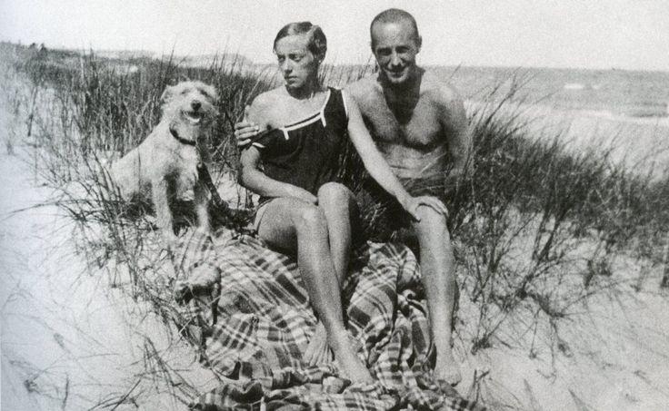 Katarzyna Kobro and Władysław Strzemiński (and enthusiastic dog) on the beach in…