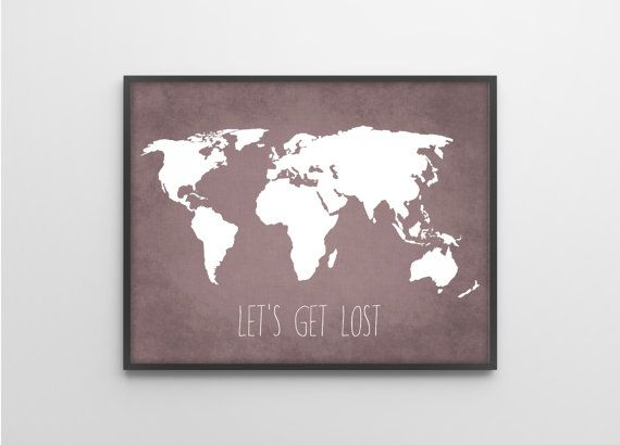 Travel Quote World Map Art Print Poster - Let's Get Lost - Travel Decor - Violet Purple Grunge Textured Linen Cloth Background on Etsy, $8.00