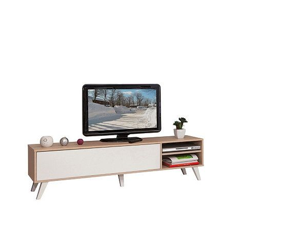meuble tv scandinave cosmos chne et blanc - Vente Meuble Tv Bois