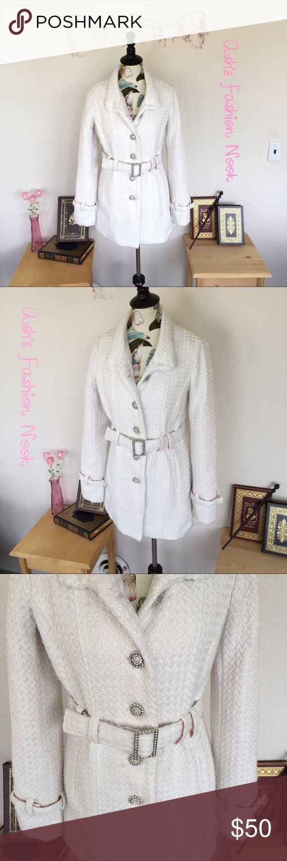 💠New Listing 💠 Vanity-White Dress Coat 🌸EUC! Gorgeous, white dress coat. Great for special occasions. Has beautiful rhinestone buttons, pretty pink satin lining, and a textured white outer.🌸💸Free Shipping on bundles with three or more items. After you bundle your three items, make an offer with $6 off the discounted bundled price.💸 Vanity Jackets & Coats Trench Coats