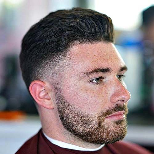 Dapper Haircut - Low Fade with Thick Brushed Up Hair