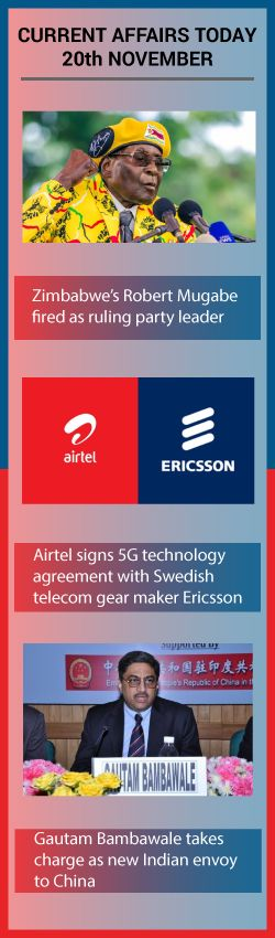 Zimbabwe's Robert Mugabe fired as ruling party leader – Today Current Affairs November 20, 2017 Airtel signs 5G technology agreement with Ericsson. Gautam Bambawale takes charge as new Indian envoy to China – Today Current Affairs November 20, 2017.