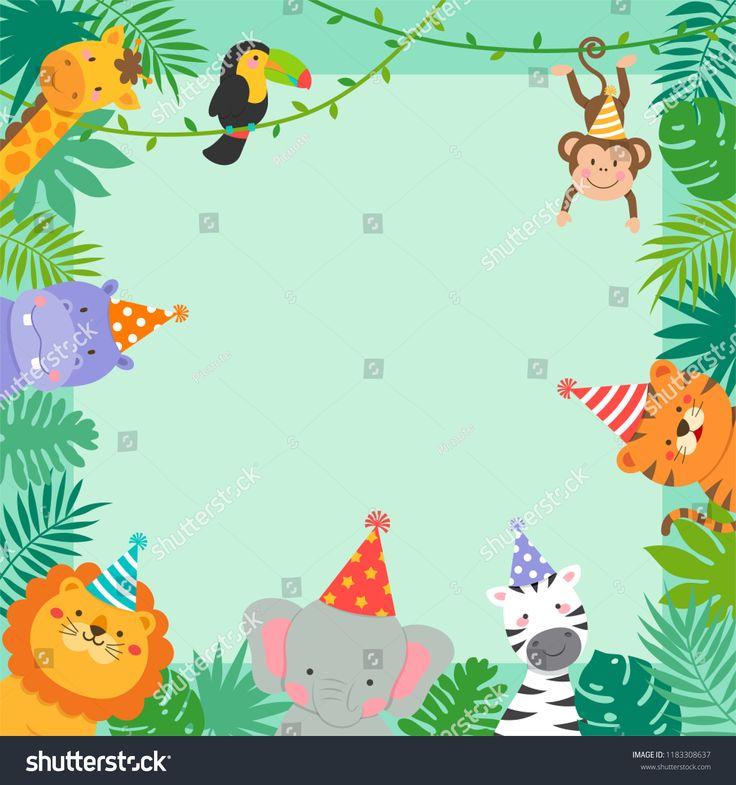 frame border of cute jungle animals cartoon and tropical