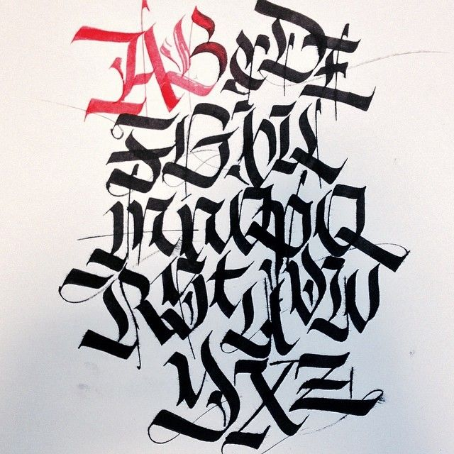 Alphabet training.  #training #alphabet #calligraphy #calligraphygram #calligritype #classicocoolestclub #goodtype #layout #composition #fraktur #gothic #paper #ink #black #red #blackbook #ccc #rome