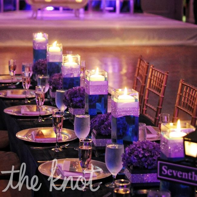 Purple and blue; create the look of cobalt glass without actually having it by using blue water. I like these with the floating candles