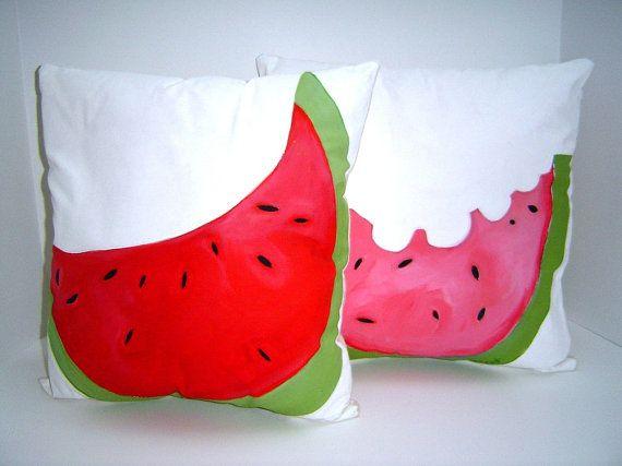Watermelon Trio  Pillows  Hand painted  Festive  by PAINTEDPILLOWS, $125.00