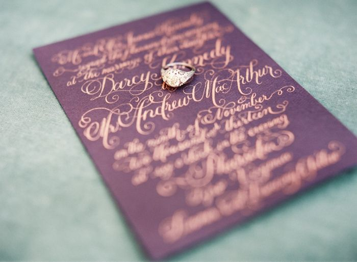 Bold meets soft fall wedding inspiration: purple wedding invites by Laura Hooper Calligraphy