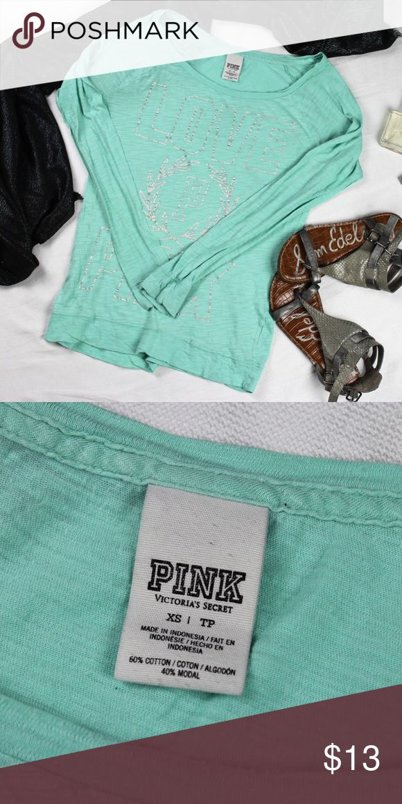 "Victoria's Secret PINK • Mint and Silver Tee Classic and cute, this tee is light but still warm - perfect for lounging or sleep. Approximate measurements laying flat: pit to pit 16.5"", waist 15"", length 25"". PINK Victoria's Secret Tops Tees - Long Sleeve"
