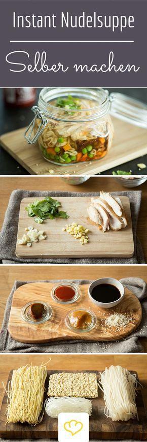 Hast du schon mal daran gedacht eine Instant Nudelsuppe einfach selber zu machen? So entscheidest du selber was rein kommt! Ein gesunder Snack für's Büro!