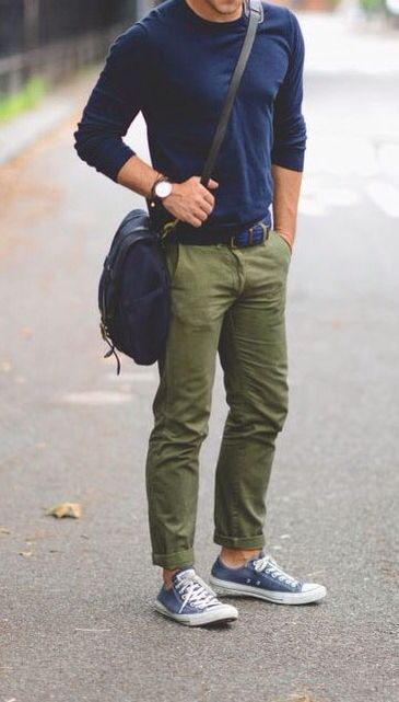 Blue t shirt.., green chino...
