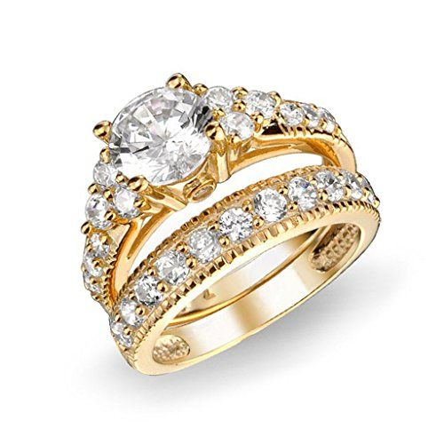 2 Pcs 18k Gold Plated AAA CZ Diamond Wedding Engagement Rings for Women Size 5 6 7 8 9 10 11 12