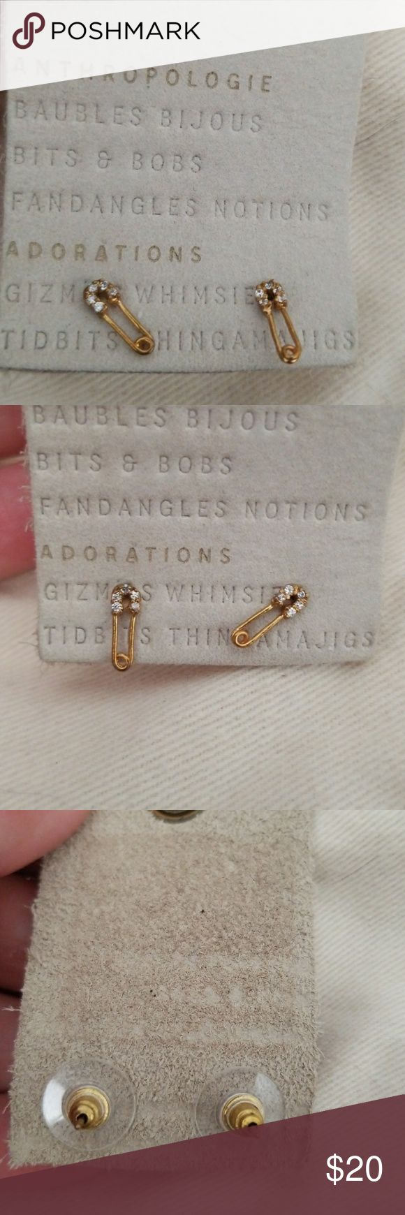 """New Anthropologie Safety Pin Earrings New, No Tags Attached  Anthropologie  Safety Pin Earrings Metal, Glass Stud design (looks like there is a gap, but just shape of top of safety pin)  Gold Toned Approximately 0.5"""" x 0.25"""" Ask Questions  Bundle And save Anthropologie Jewelry Earrings"""