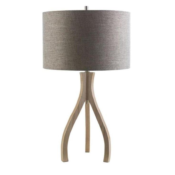 Three Legged Beauty Cadet Gray and Wood Brown Table Lamp 28.75