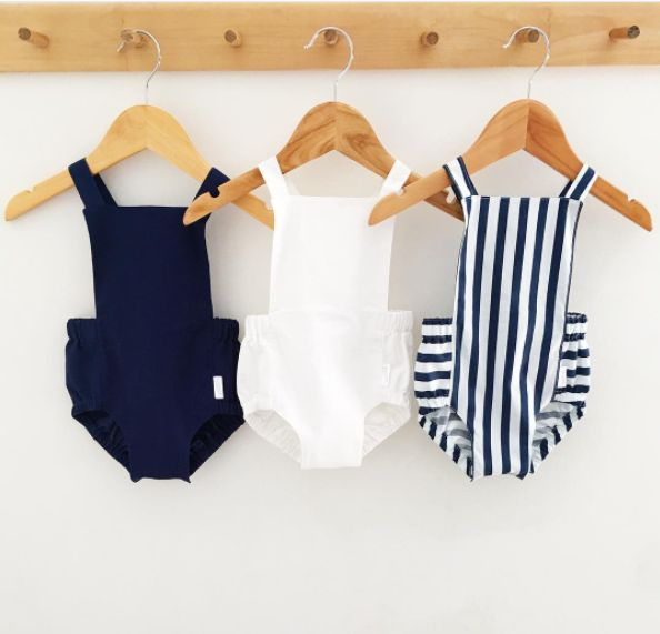 swell & solis Dune Romper - navy blue, white, nautical stripe. Ethically made baby romper / jumpsuit / onesies