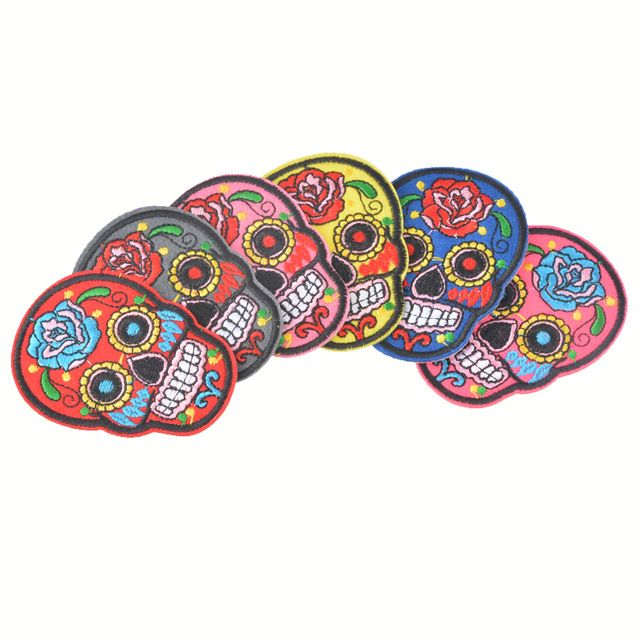 Hoomall 5PCs Iron On Patches Clothes DIY Flowered Skull Embroidered Patches For Clothing Fabric Badges Sewing Patches