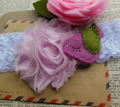 Pretty Felt Bird and Flower and Lace hairband.  Handcrafted by me with love and care.  OOAK.
