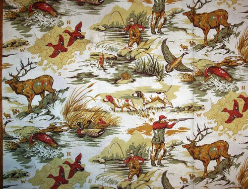 Vtg 50s 60s fabric cabin lodge hunting fishing novelty for Fishing themed fabric