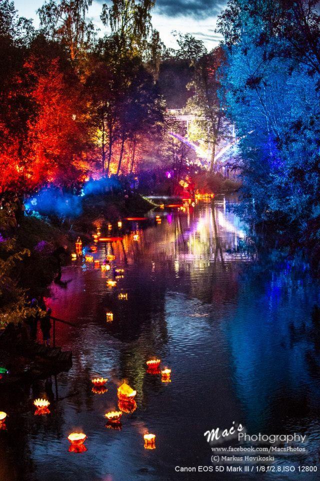 City of Jyväskylä in center of Finland : a lovely light show at Tourujoki, date 27.9.2013.