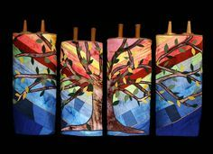 Torah covers made of hand-dyed silks and quilting, Temple Chai, Buffalo Grove, IL