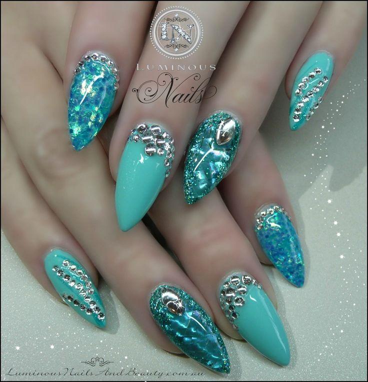 Opal Glitter Nail Polish: Acrylic Nail Photos With Glitter