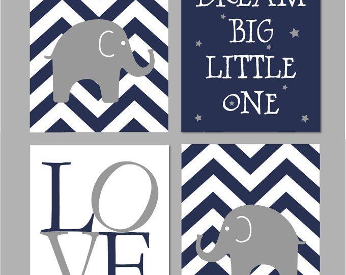 """Chambre de bébé éléphant, chambre de bébé garçon, chambre d'enfant bleu marine et gris, rêve un peu gros, éléphant de crèche Art instantané Télécharger 8 """"x 10»"""