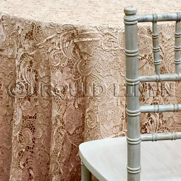 English Lace Tablecloth   Champagne