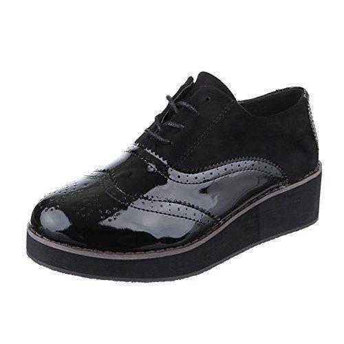 Oferta: 23.74€. Comprar Ofertas de Ital-Design - Zapatos Planos con Cordones Mujer , color negro, talla 39 barato. ¡Mira las ofertas!
