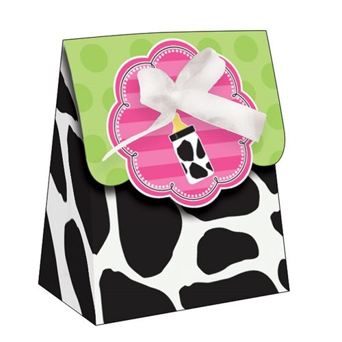"""Send your guests home with a little """"moo-mento"""" from your baby shower with the Baby Cow Print Girl Die-cut Loot Bags with Ribbon. The favor bags have a black and white cow print with a two-toned green polka dot fold over flap featuring a pink striped medallion with a scalloped edge and a tiny cow print baby bottle. Fill the favor bag with your favorite treats like mints, candies or other sweets, then tie shut with the enclosed white ribbon. This item ships flat and requires some minor…"""