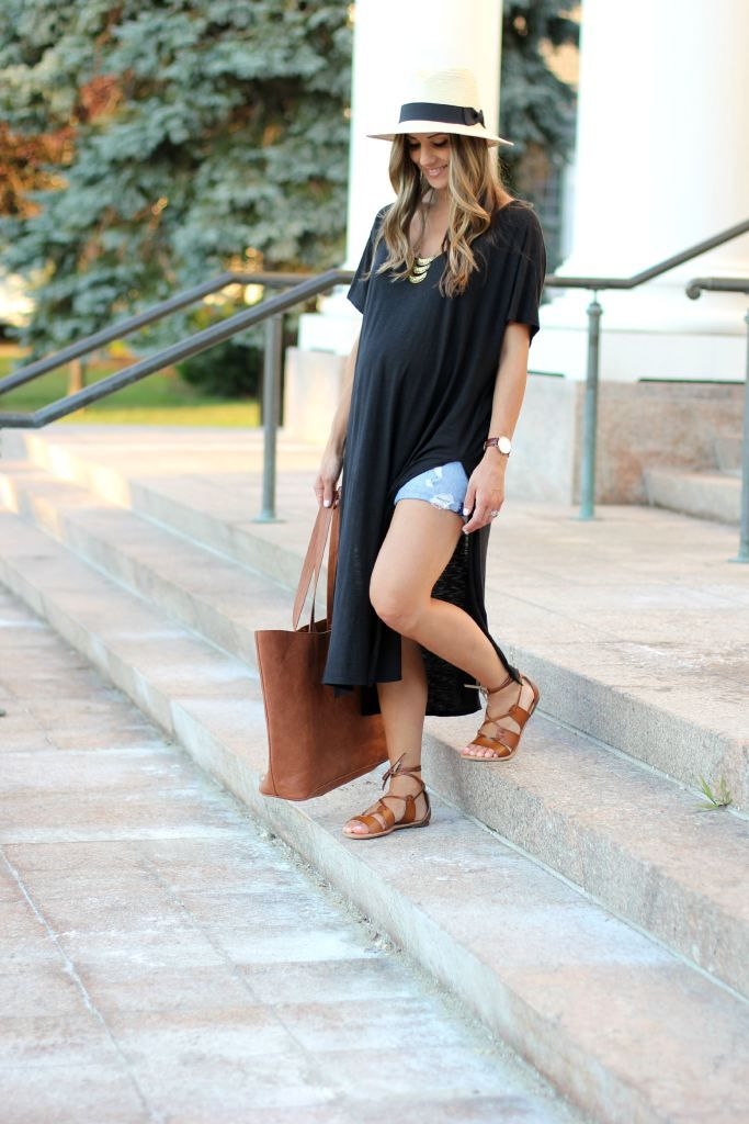 Black High Side Slit Dress , Gladiator sandals, Maternity fashion, Maternity style,  Casual maternity look