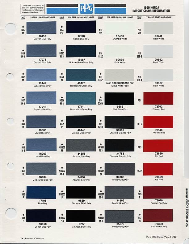 Colour Matching Chart  Parking Sensors