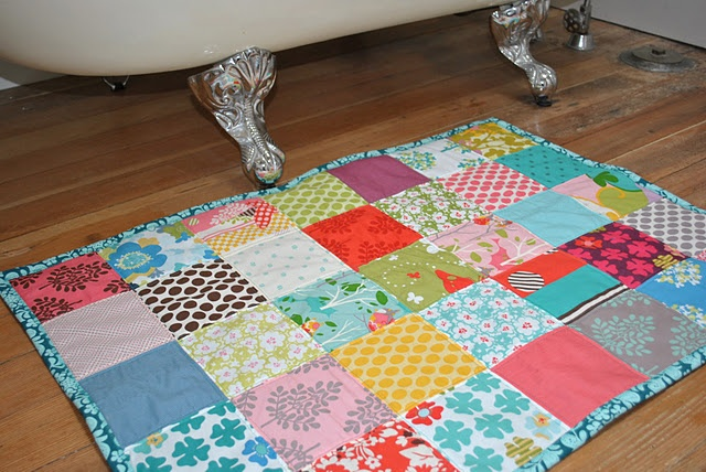 Quilted bath mat ~ towel backed!! What a cool idea, got to pick coordinating fabric