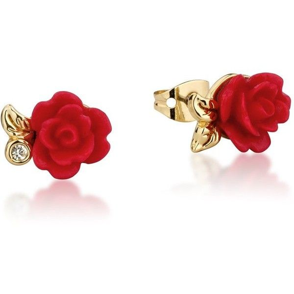 Disney Beauty and the Beast Enchanted Rose Stud Earrings (£22) ❤ liked on Polyvore featuring jewelry, earrings, accessories, rose gold tone jewelry, rose jewelry, disney jewellery, red rose jewelry and sparkle jewelry