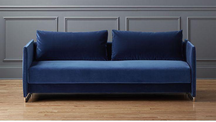 "$1699  Dimensions: Width: 78"" Depth: 38"" Height: 26"" tandom navy sofa"